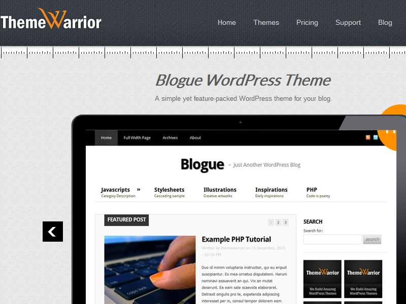 ThemeWarrior Blogue Theme