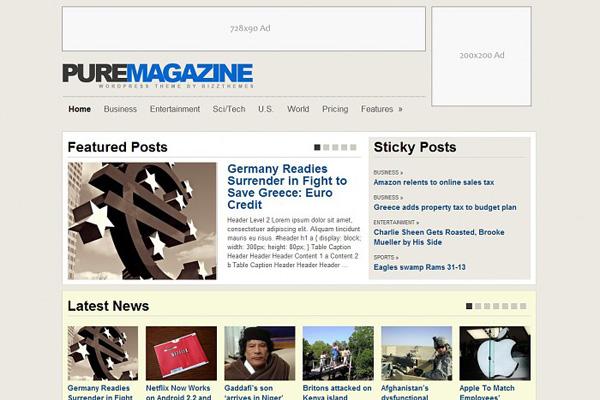 BizzThemes Pure Magazine Theme