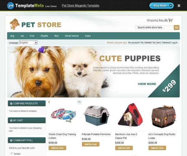TemplateMela Pet Store Premium Magento Template