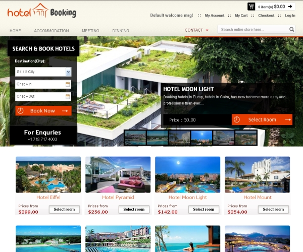 Hotel Booking-Premium Magento theme for online hotel reservation sites