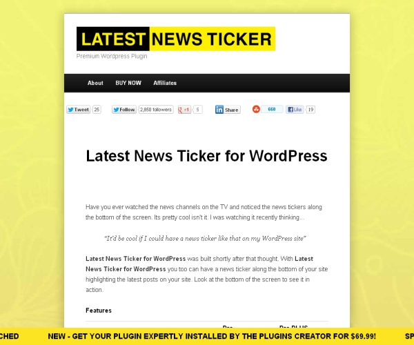 Latest News Ticker-Premium WordPress Ticker plug-in