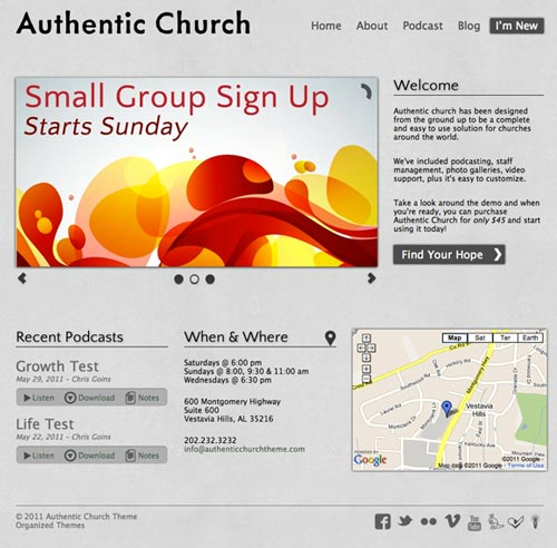 Organized Themes Authentic Church Theme Review