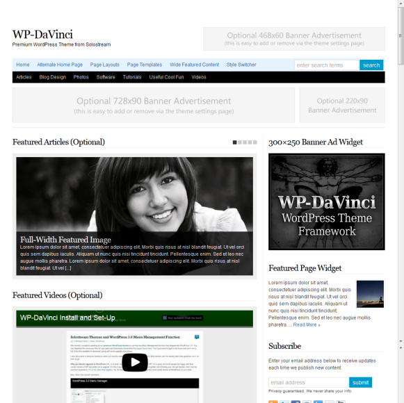 Solostream WP-DaVinci WordPress Theme