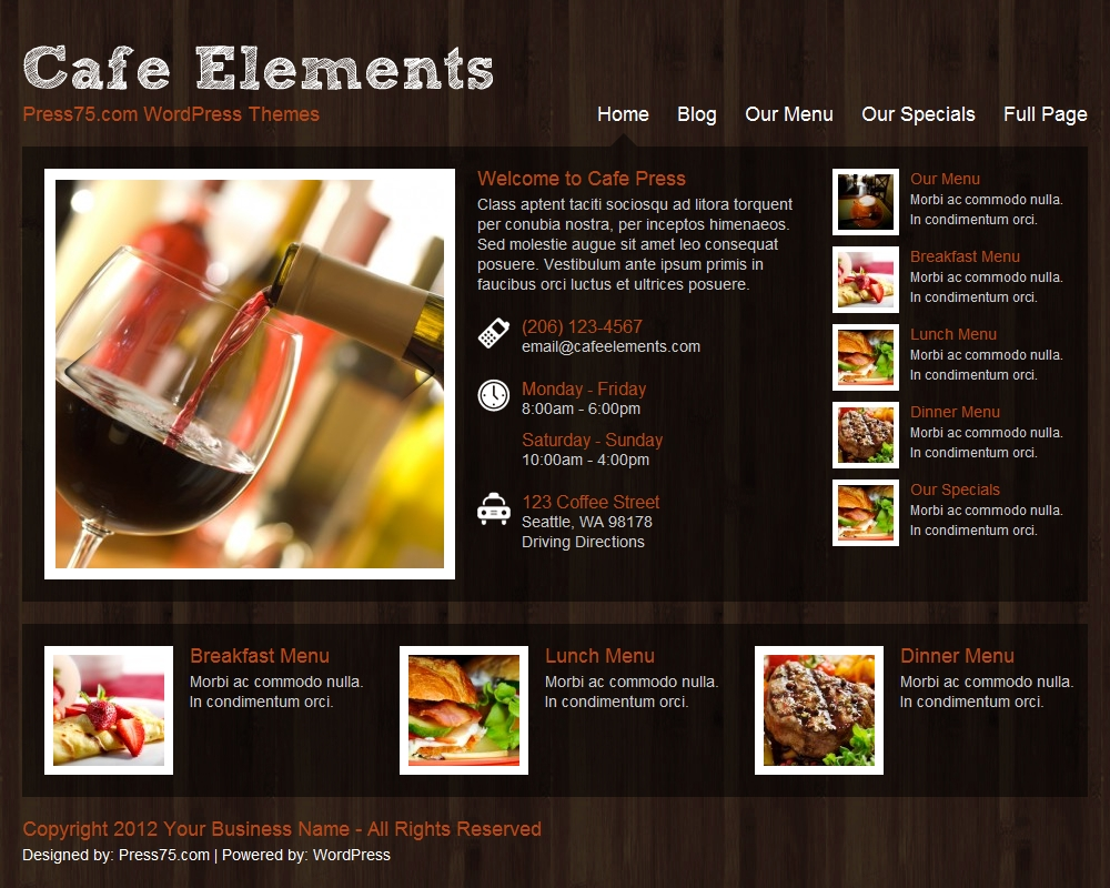 Press75 Cafe Elements Theme