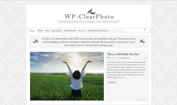 Solostream WP-Clear Photo Theme