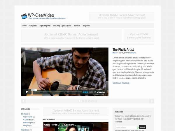 Solostream WP-Clear Video Theme