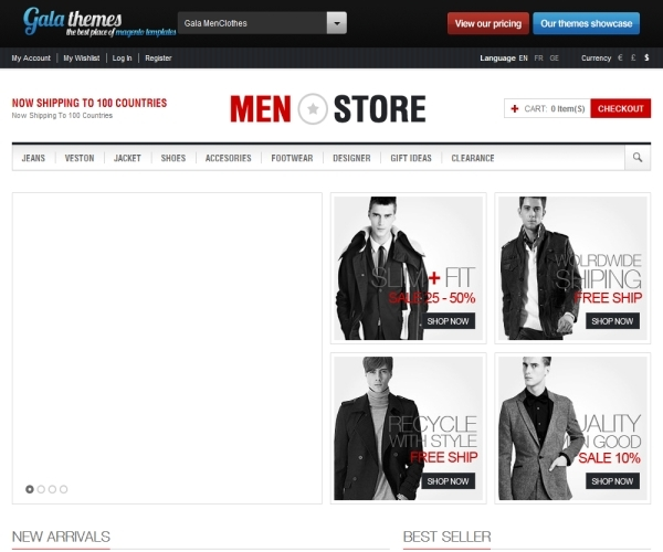 GalaThemes Men Clothes Magento Theme