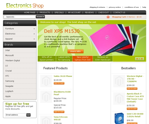 Electronics Shop-Premium Magento Theme for online Consumer Stores
