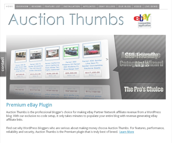 Auction Thumbs- Premium plug-in for creating online eBay Partner network sites
