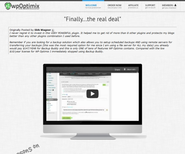 WP Optimix-Premium security and Back-Up plug-in for WordPress sites