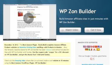 WP Zon Builder Plugin Review- A Premium WordPress Plug-in for Amazon Affiliate sites